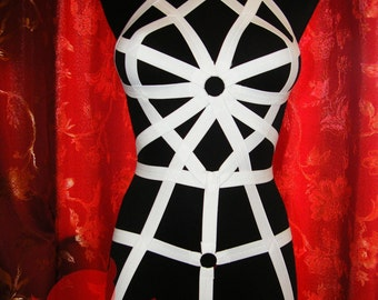White or Black Harness Body Elastic Bondage Plus and regular size Burning man