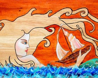 Mermaid Bench,Mermaid Art,Wood Grain Art,Wood Grain Paintings,Nautical Furniture, Mermaids, Mermaid Art,