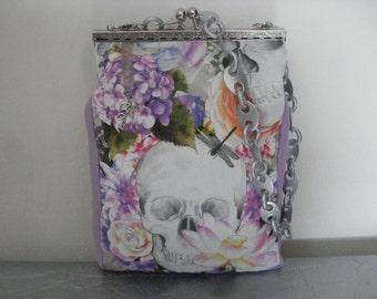 Handbag skull flowers