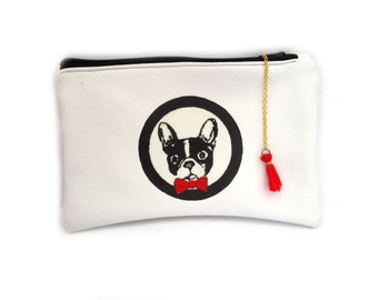 Bulldog Coin Purse, Dog, Small Pouch, Gadget Case, Padded, Card Pouch, Zipper Wallet, Animal pouch