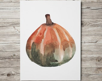Watercolor print Kitchen art Pumpkin poster Food print ACW658