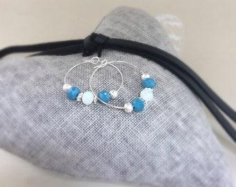 Hoop earrings, silver plated earrings, glass beads, beaded earrings, beaded jewellery, gifts for her