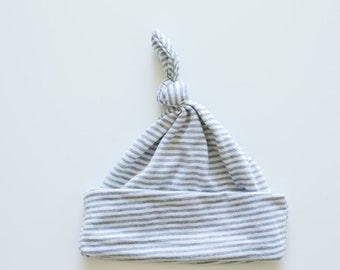 Knotted Baby Hat - Grey and White Stripes