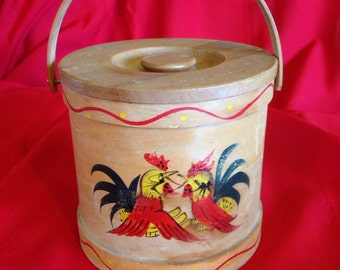 Vintage '60's Wooden Hand-Painted Canister - Made in Japan by Ucagco