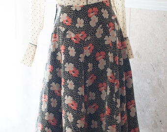 Ossie Clark Style Skirt Floral Velvet High-waisted A-Line Black Beige Orange 1960's