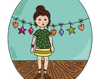 Sophie is celebrating something - illustration A4 - child - vintage - girl - animals - wall decoration