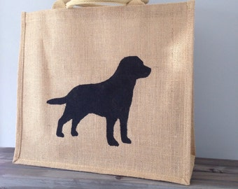Black Lab Hand painted jute shopping bag- large. Burlap gift bag, hessian tote bag, dog lover gift. Personalised- Labrador retriever