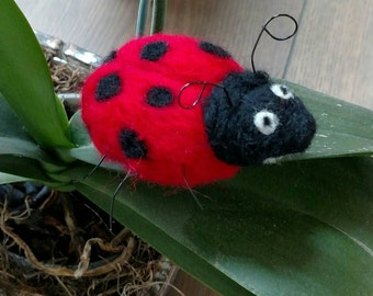 Wool Felted Ladybug with wire legs and antennas