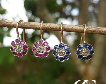 Fine Delicate Edwardian Inspired Flower Earrings with Diamonds and Ruby or Sapphire