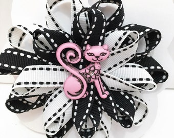 Black and White Bow with Cat Center, Black and White Bow with Balloon Center Hair Bow, Hair Clips, Girls Hair Bow. #HB-2, 6