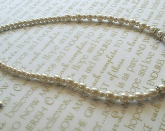 Glass Pearl Beaded Necklace with Rondelle Crystal Spacers