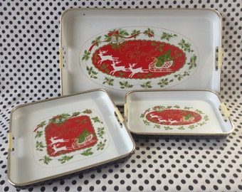 C.1960's~Merry Christmas~Laquerware Trays~Set of Three