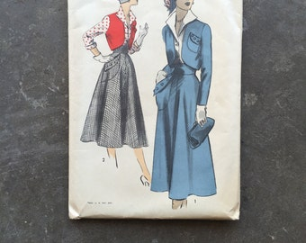 Vintage Sewing Pattern Advance 5455 Size 18, Bust 36, Waist 30 1950's, 50's, Factory Folded