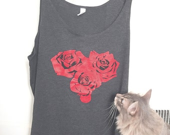 Rose Heart Slouchy Tank Top Bella - CHARCOAL