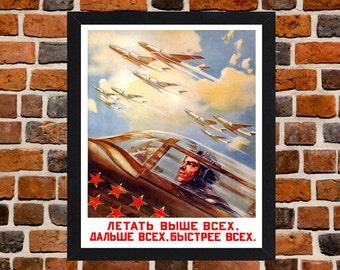 Framed Soviet Airforce USSR Communist Cold War Propaganda Poster A3 Size Mounted In Black Or White Frame (Ref-2)