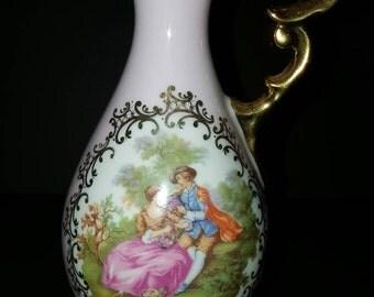 Vintage limoge porcelain vase pink gold beautiful