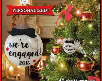We're Engaged Christmas Ornament, Personalized Gifts, Engagement Ornament, Engaged Ornament, Wedding Ornament, Just Engaged Gift, Xmas gift