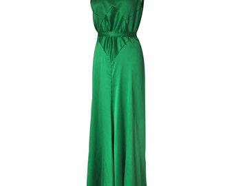 1920's Inspired Emerald Green Silk Low Back Gown with Sequined Trims and Pleated Train