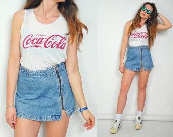 "High waisted MINI skirt ZIPPED Schoolgirl jeans denim vintage mini 1990's Zipper S Small size 28"" waist"