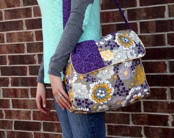 Diaper Bag Set - Purple, Gray, and Yellow - Marigold - Flower and Scroll Patterns - Baby - Changing Pad - Zipper Pouch - LiaMelie - Handmade