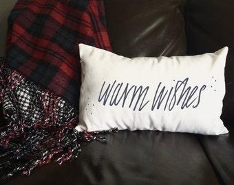 Warm Wishes Pillow, Winter Pillow, Christmas Pillow, Decorative Pillow, Christmas Gift, Whimsical Pillow, Holiday Pillow, 12x16 Pillow