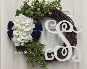 Summer Wreath, Everyday Wreath, Initial Wreath, Monogram Wreath, Front Door Wreath, All Year Wreath