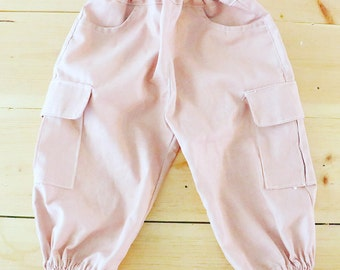 Cargo Pants for Toddler Pink Linen