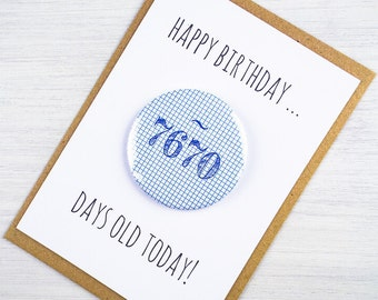 Days Old Happy Birthday Badge Card