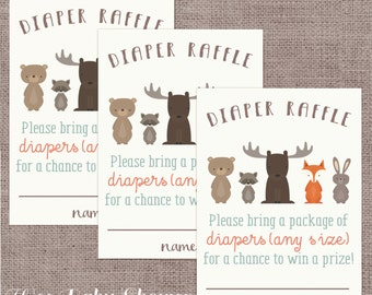 Diaper Raffle Woodland Animals