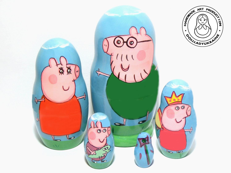 peppa pig nesting dolls 11 cm 43 kids gift matryoshka doll - Kids Decor