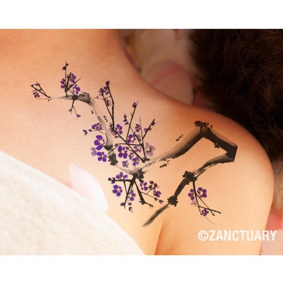 aquarel boom tijdelijke tattoo plum blossom nep tattoo grote. Black Bedroom Furniture Sets. Home Design Ideas