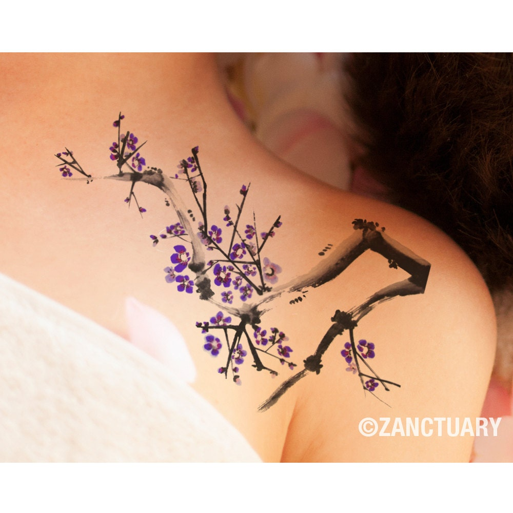 aquarel boom tijdelijke tattoo plum blossom nep tattoo grote. Black Bedroom Furniture Sets. Home Design Ideas