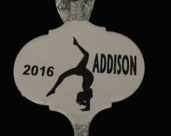 Personalized Gymnastics Glitter Tipped  White Tile Christmas Ornament