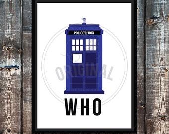 Minimalist Dr Who TARDIS Printable Poster