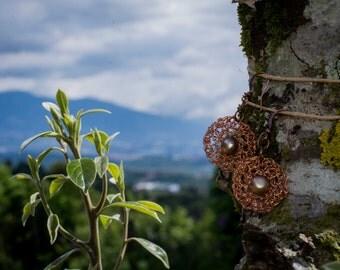 Crocheted Copper Wire Earrings