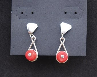 Sterling Silver Earrings, Red Coral Earrings, Dangle Earrings, Drop Earrings, Stud Earrings, Coral Dangle Earrings, Handmade, Coral Stud