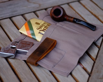 Pipe Canvas and leather case - tobacco and electronic cigarette pouch - travel case