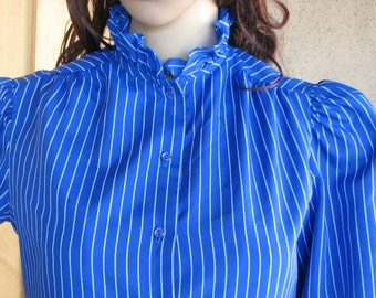 Vintage Cobalt Blue Ruffle Collar Secretary Blouse, by Jonquil, Blue Blouse with White Pin Stripes