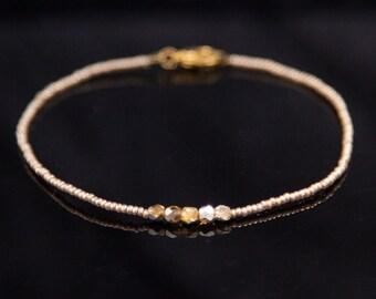 Gold Bracelet Fine Bracelet Skinny Bracelet Minimal Bracelet Tiny Bracelet Gold Bead Bracelet, Gold Stacking Bracelet Layering Bracelet
