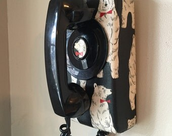 Old phone to dial vintage, old phone retro antique roulette of wall with fabric tie bear black