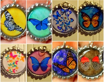 Butterfly Bottlecap Necklace, Keychain, or Zipper pull