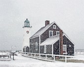 December at Scituate Light, Scituate, MA, lighthouse print, snowy lighthouse, wall art, home decor, photo art, archival, by Joe Parskey