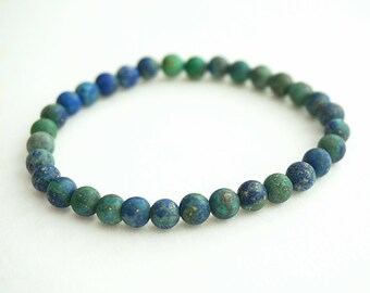 Blue Beaded Bracelet, Matte Chrysocolla Jewelry, Healing Gemstone Bracelet, Yoga Bracelet, Gifts, Womens Blue Bead Bracelet, Mens Bracelet