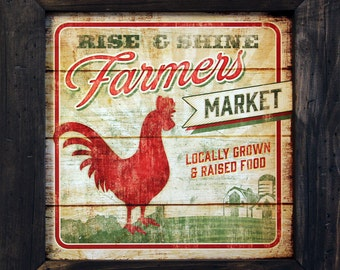 "Rooster Decor ""Farmers Market"" 15x15 Rise and Shine Rooster Art and Primitive Country Distressed American Handcrafted Frame"