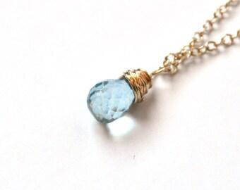 Aquamarine Gold Necklace - Faceted Briolette - Gold Necklace – Blue