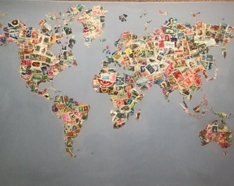 World map collage in postage stamps