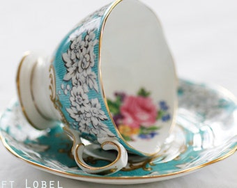 Royal Albert's 'Enchantment'  SMALL duo-teaset, fine bone china england aqua-blue and floral pattern, goldgilt rim