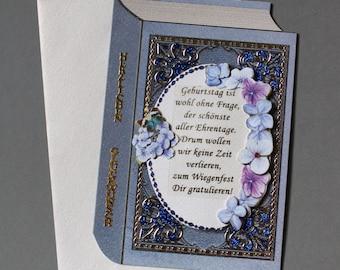 Birthday card greeting card blue book
