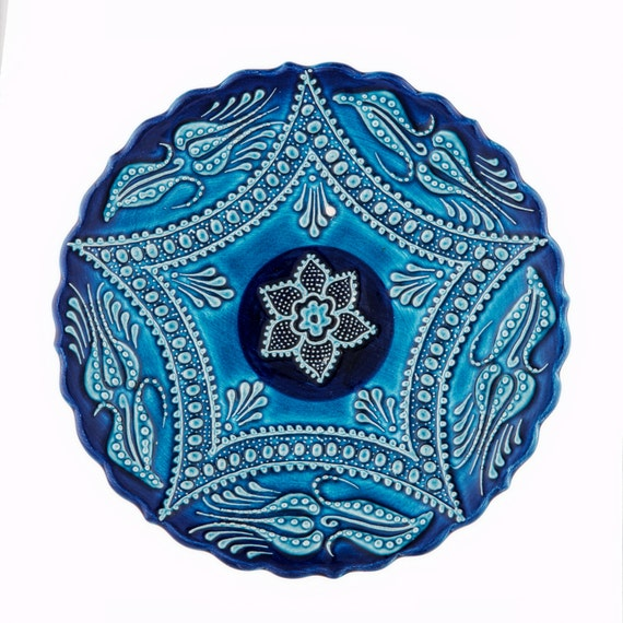 Turquoise Ceramic plate wall hangings decorative plates
