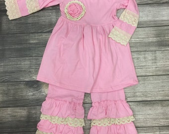 Adorable Little girls boutique outfit, Ruffle tunic with ruffle pants, Easter outfit,  pink with ivory crochet trim, toddler picture outfit